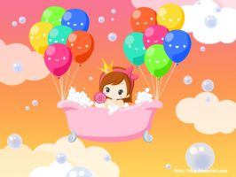 Having a bath in the sky by Plua