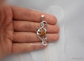 'Shiny forms' handmade sterling silver pendant by seralune