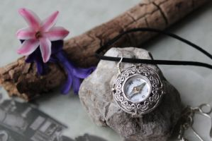 Compass Necklace on Leather real working! by artistiquejewelry