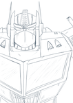 Optimus Prime Lineart by xoes