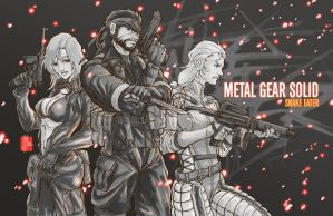 MGS3 Black White and Red by artofJEPROX
