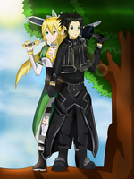 Kirito and Leafa by zedjianreturns