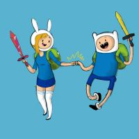 Fionna and Finn by glooptastic