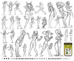 Female Character Pose and Gesture Sheet 1 by STUDIOBLINKTWICE