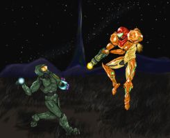 Samus vs The Master Chief by felineflames