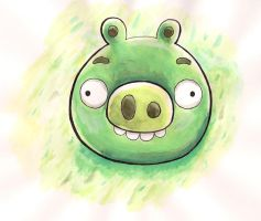Angry Birds Piggy! First watercolor attempt. by Gallade007