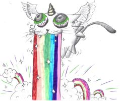 Kitty Barfs Rainbows by LightningSauce