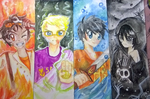 Fire, Lightning, Water and Darkness by HoshimiMidori