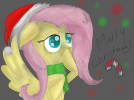 Christmas Fluttershy by aureola101