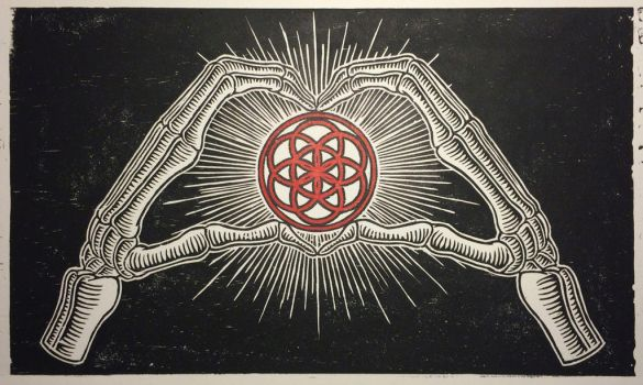 Love Life and Death relief print by Fischer-Art