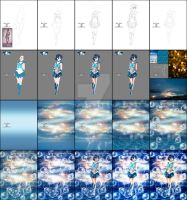 step by step Sailor Mercury by EvyLeeArt