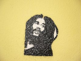 Bob Marley Stencil B and W by DaSigner