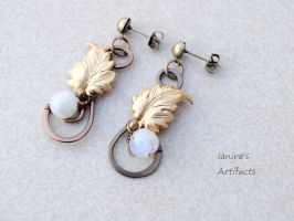 Moonstone earrings with leaves by IanirasArtifacts