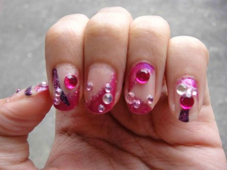 Kawaii Pink Nail Art by annacandylover