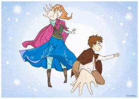 (SPOILER!Frozen) Anna and Jack Frost by ammdakin