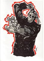 jason vorhees marker sketch by porcupinepieuk