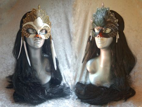 Black Swan and White Swan Masks by Angelic-Artisan
