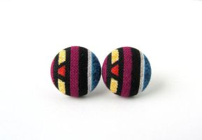 Ethnic earrings - ethnic studs - fabric button by KooKooCraft