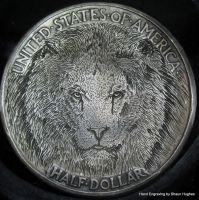 Lion Hand Engraved Hobo Nickel by Shaun Hughes by shaun750