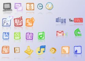 Hand Drawn Icon Set by LoneTraceur