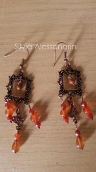 Copper frame and flower earrings by SilvieTepes