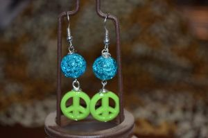 Blue and Green Peace Sign Earrings by LoneWolfjewelry