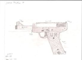 Luger influenced .45 fictional pistol by woundedkneecap