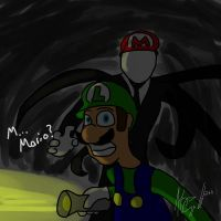 Luigi and slenderman by FallenFolf
