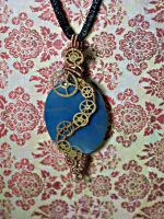 Steampunk blue pendant by srebrnaFH