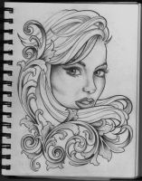 Woman and Filigree tattoo design by Frosttattoo