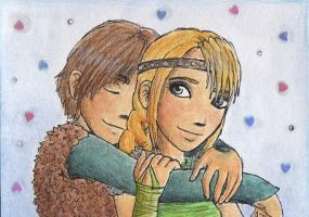 Hiccup and Astrid - ACEO by Ruaya