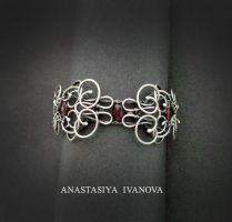 bracelet with garnet by nastya-iv83