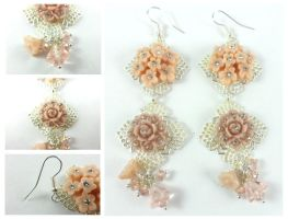 Vintage Style Silver Pink Acrylic Flower Earrings by DryGulchJewelry