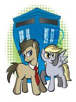 Doctor Whooves and Derpy by tzahler