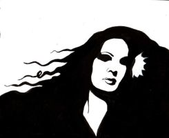self portrait in ink by victoriaD