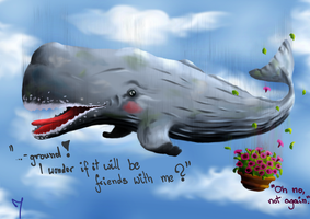 The innocent sperm whale and a bowl of petunias by Isil22