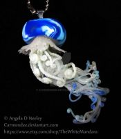 Blue Frilled Cascading Jellyfish Pendant by carmendee