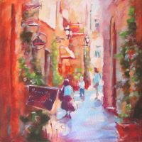 LITTLE STREET in the painting by renatadomagalska