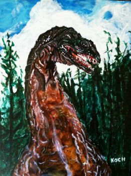 THE CRATER LAKE MONSTER/acrylic by Roger Koch by tabongafan
