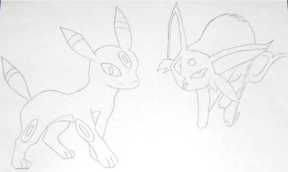 Umbreon + Espeon by Hitkid