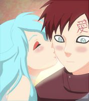 Gaara x Angel- Good Luck Kiss by SilverGenko