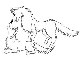 Couple wolf lineart by Dracowolfie
