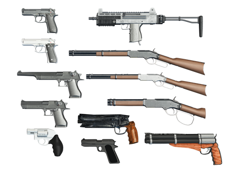 Gun Selection PNG Stock by Roy3D