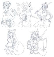 Anthro Sketch Commishes by AmyClark