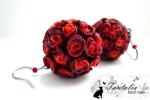 "Earrings ""Red Roses"" by Tantalia"