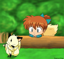 Inuvember Day 5: Shippou and Kirara by ScarletSide