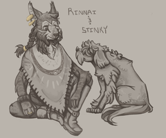 Rinnai and Stinky - Skyrim by Kolala-Bear