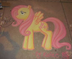Fluttershy Chalk in the Park by Kafae-Latte