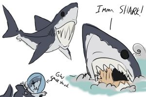 greatwhite shark scribble by imric1251