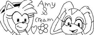Amy Rose and Cream the Rabbit by BNAGalaxyWarrior